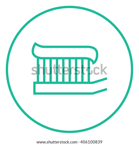 Toothbrush with toothpaste line icon. - stock vector