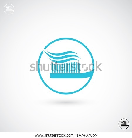 Toothbrush with toothpaste sign - vector illustration - stock vector