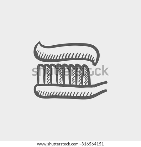 Toothbrush with toothpaste sketch icon forweb, mobile and infographics. Hand drawn vector dark grey icon isolated on light grey background. - stock vector
