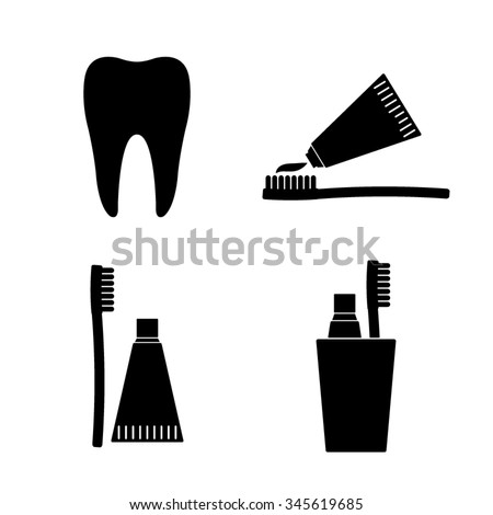 Toothbrush with toothpaste - vector icon, set - stock vector