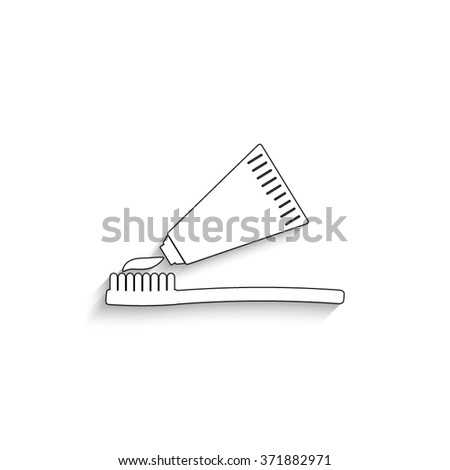 Toothbrush with toothpaste - white vector icon with  shadow - stock vector