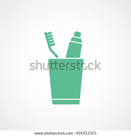 Toothpaste and Tooth Brush In Cup Green Flat Icon On White Background - stock vector