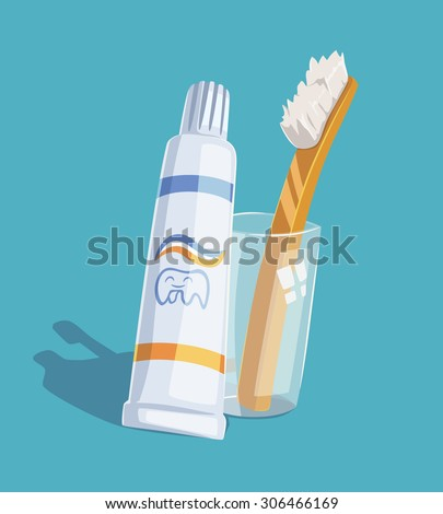 Toothpaste and toothbrush. Vector illustration.
