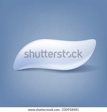 Toothpaste blot blob isolated vector illustration. White color. - stock vector
