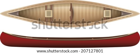 Top And Side View Of A Canoe
