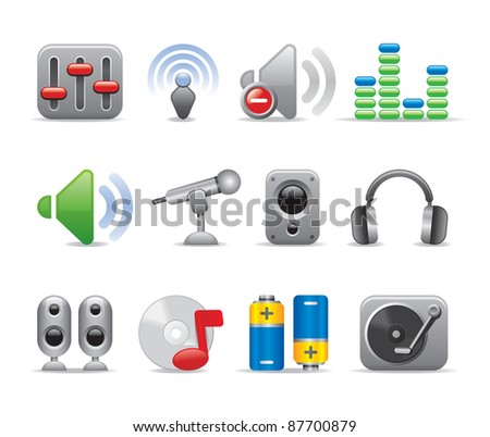 Top art logo music cute icon dj set for professionals - stock vector