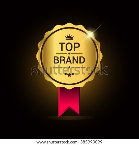 Top brand golden label with ribbon and badge shiny, vector illustration.