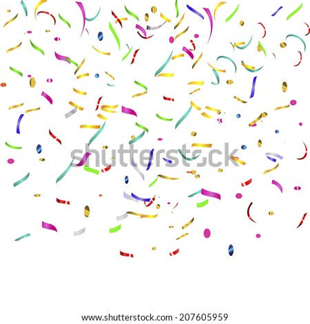 top flying streamers and confetti - stock vector