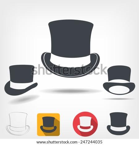 Top hat - stock vector