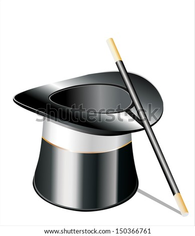 Top hat and a magic wand isolated against white background - stock vector