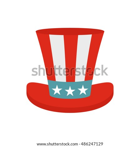 Top hat in the USA flag colors icon in flat style on a white background vector illustration