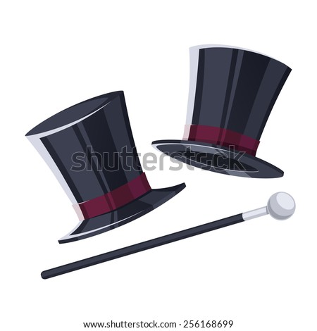 Top hat with a cane. - stock vector