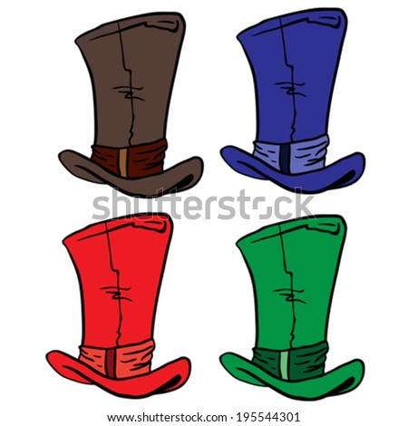 top hats cartoon illustration - stock vector