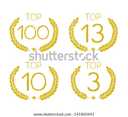 top hundred, top 13, top ten, top three ranking - stock vector
