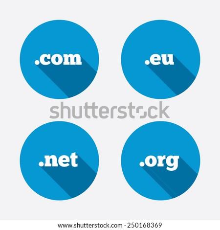 Top-level internet domain icons. Com, Eu, Net and Org symbols. Unique DNS names. Circle concept web buttons. Vector - stock vector