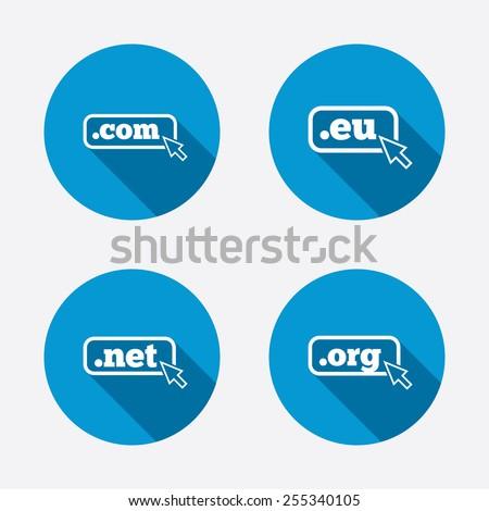 Top-level internet domain icons. Com, Eu, Net and Org symbols with cursor pointer. Unique DNS names. Circle concept web buttons. Vector - stock vector