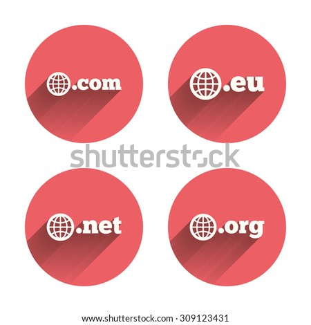 Top-level internet domain icons. Com, Eu, Net and Org symbols with globe. Unique DNS names. Pink circles flat buttons with shadow. Vector - stock vector