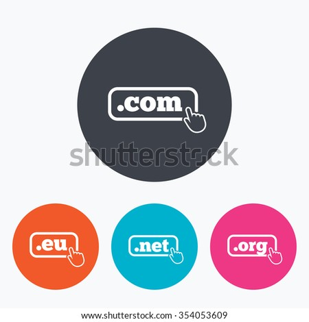 Top-level internet domain icons. Com, Eu, Net and Org symbols with hand pointer. Unique DNS names. Circle flat buttons with icon. - stock vector