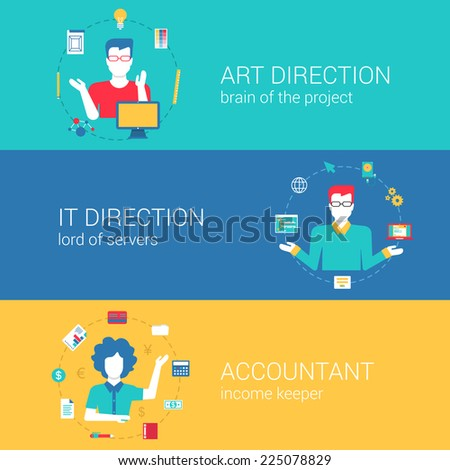 Top manager professions concept flat web banners template set art direction it director chief accountant vector illustration website infographics elements. Process collection people professionals flat - stock vector