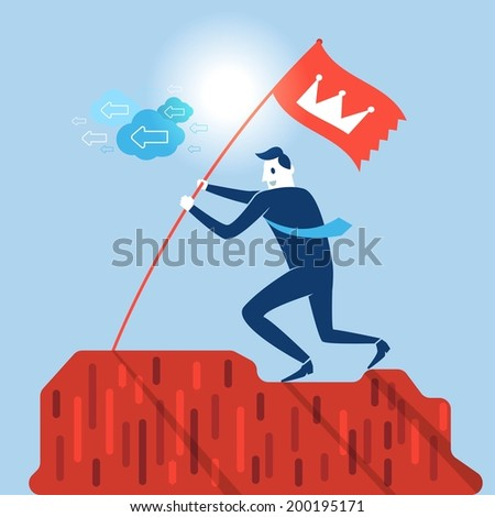 Top of success businessman - stock vector