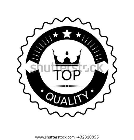 Top quality badge on white background, rubber stamp award, flat design label - vector illustration - stock vector