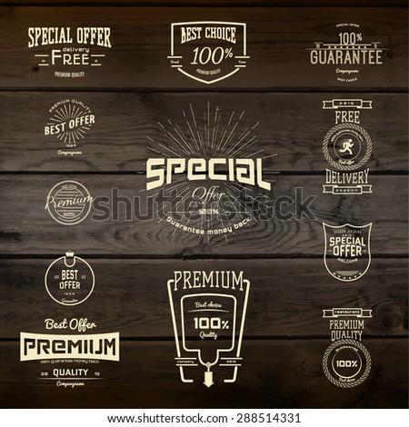 Top quality badges logos and labels for any use. Company corporate logo element design. On wooden background texture - stock vector