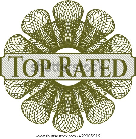 Top Rated rosette (money style emplem) - stock vector
