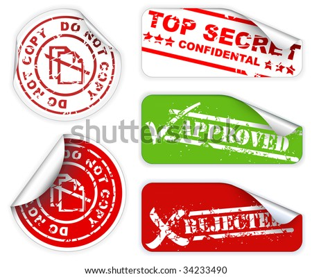 Top secret, approved, rejected, top confidental labels and stickers