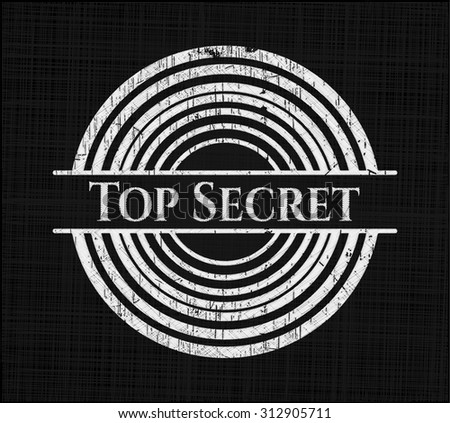 Top Secret chalkboard emblem on black board - stock vector
