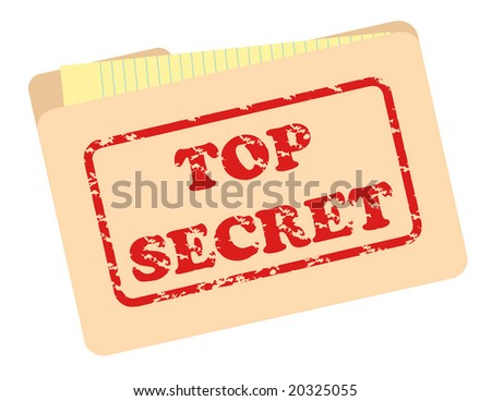 Top secret file folder with grunge text simulating inked stamp. - stock vector
