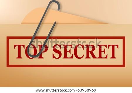 Top secret folder file with slight grunge. Vector. - stock vector