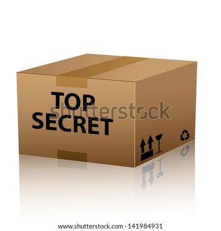 top secret package cardboard box - stock vector
