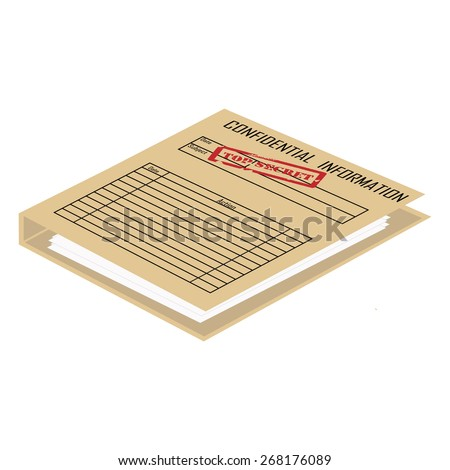 Top secret red rubber stamp on brown file folder vector, confidential information  - stock vector