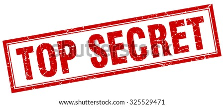 top secret red square grunge stamp on white - stock vector