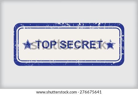 Top secret rubber stamp.Grunge top secret stamp.Vector illustration. - stock vector