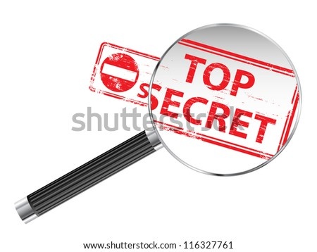 Top Secret rubber stamp under a magnifying glass - stock vector