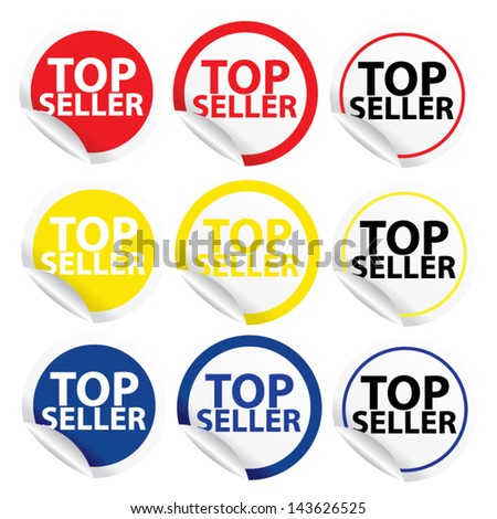 Top seller colorful stickers and labels set. Vector