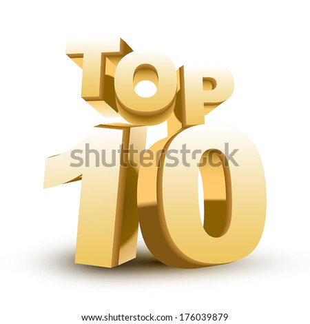 Top ten golden word isolated white background