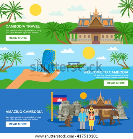 Top tourists attraction in cambodia 3 flat horizontal banners set webpage for travelers abstract isolated vector illustration - stock vector