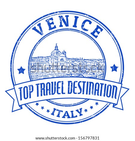 Top travel destination grunge rubber stamp with the word Venice, Italy inside, vector illustration