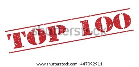 top 100 vector stamp on white background - stock vector