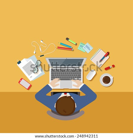 Top view above businessman office desk workplace concept flat 3d web isometric infographic vector icon set. Workspace template mockup. Creative people collection. - stock vector