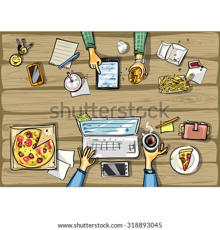 Top view background - lunch time with tablet - stock vector