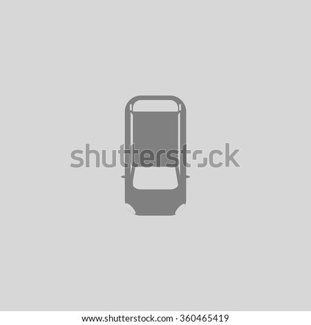 top view car - Grey flat icon on gray background - stock vector