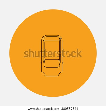 top view car Outline vector icon on orange circle. Flat line symbol pictogram  - stock vector