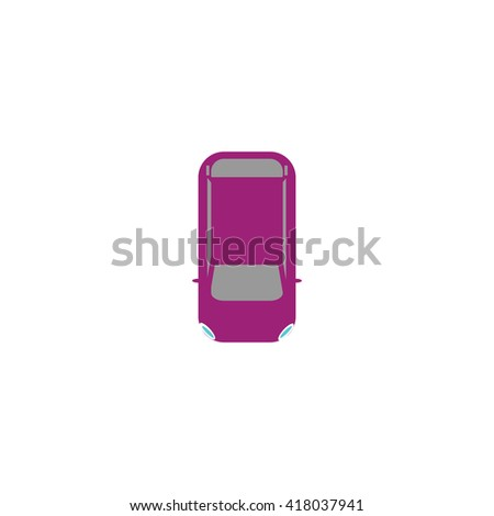 top view car Simple flat vector icon - stock vector