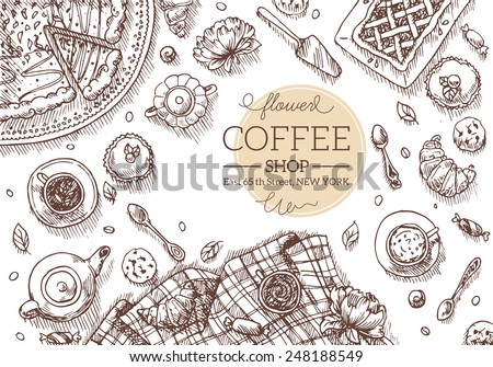 Top View Coffee Shop table. Vector illustration - stock vector