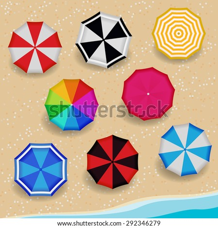 Top View Colorful Pattern color Umbrella on the Beach  - stock vector