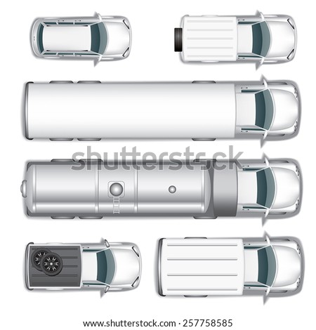 Top view different automobiles set isolated on white. Vector illustration - stock vector