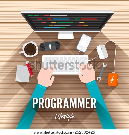 Top view element programmer flat design on wood background. Vector illustrate for article shopping online. - stock vector